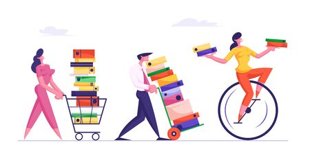 Deadline Concept with Business People Carry Huge Piles of Documents Following Woman Riding Monowheel with Files in Hands. Employees Loaded with Hard Work in Office. Cartoon Flat Vector Illustration