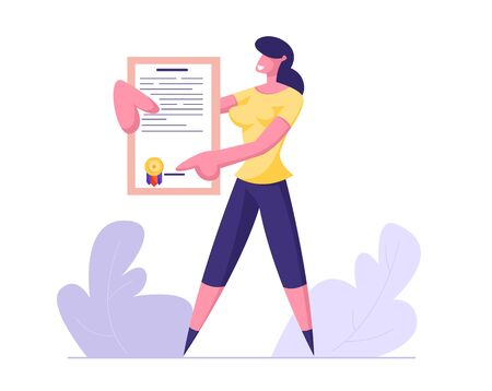 Young Business Woman Holding Insurance Policy Certificate with Seal Stamp. Protection of Health and Property Interests of Individual and Legal Entities Insured Events Cartoon Flat Vector Illustration