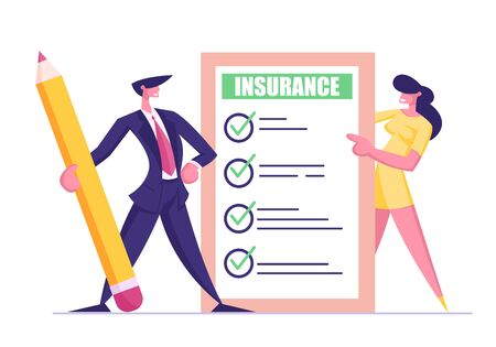 Protection of Health, Life, Real Estate and Property Interests. Business Man in Suit with Huge Pencil and Young Woman Holding Insurance Certificate with Checklist. Cartoon Flat Vector Illustration Illustration