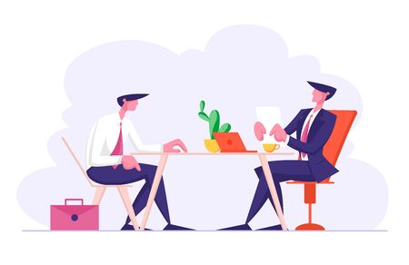 Job Interview with Selection Committee Manager Asking Questions to Applicant About Work History Skill Expertise Experience. Businessman Listen to Candidate Answers. Cartoon Flat Vector Illustration