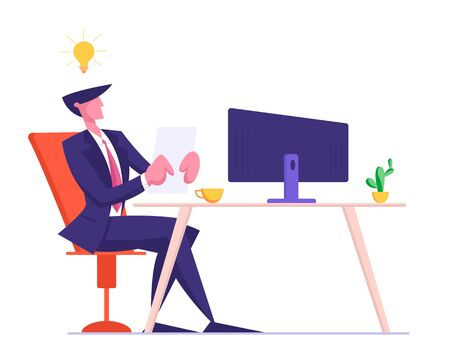 Young Businessman in Formal Suit Sitting at Computer Monitor with Glowing Light Bulb over Head Writing Resume for Searching Job and Interview to Business Company. Cartoon Flat Vector Illustration Ilustracja