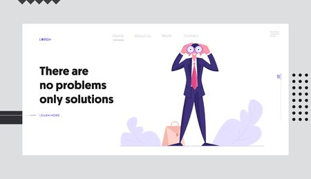 Visionary Forecast, Prediction Website Landing Page, Businessman Watching to Binoculars, Business Vision, Recruitment Employee, Success Planning Web Page. Cartoon Flat Vector Illustration, Banner