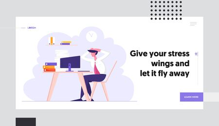 Deadline and Paper Bureaucracy Website Landing Page, Overloaded Stressed Office Employee Sitting at Workplace with Huge Heap of Documents Holding Head Web Page. Cartoon Flat Vector Illustration Banner