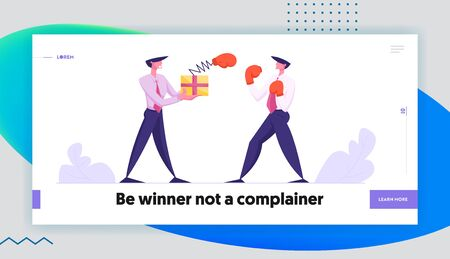 Unfair Fight Website Landing Page, Businessman Fighting with Man Hold Box with Pop Up Boxing Glove on Spring, Business People Competition, Challenge, Web Page. Cartoon Flat Vector Illustration, Banner Ilustracja