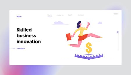 Risk Management Website Landing Page, Businesswoman Jumping over Trap with Sign of Golden Dollar inside, Manager Character Avoid Dangerous Situation, Web Page. Cartoon Flat Vector Illustration, Banner