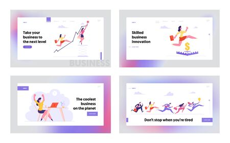 Business Situations Office Employees Website Landing Page Set. Financial Risks Woman Jump over Trap, Climbing Up with Graph, Workers Competition Race Web Page Banner. Cartoon Flat Vector Illustration