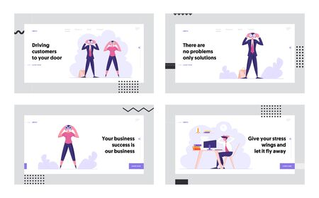 Business Vision, Recruitment and Loaded Employee Website Landing Page Set. Male and Female Business Characters Watching to Binoculars, Worker Deadline Web Page Banner. Cartoon Flat Vector Illustration
