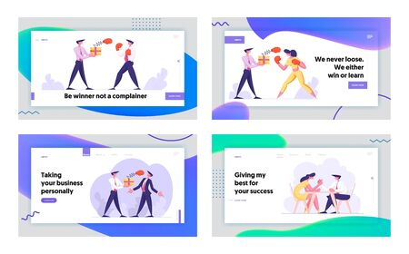 Business People Competition Website Landing Page Set. Woman Fighting with Man Holding Box with Pop Up Boxing Glove on Spring, Managers Armwrestling Web Page Banner. Cartoon Flat Vector Illustration Illustration