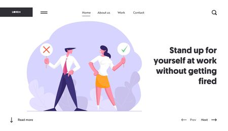 Voting People, Election Website Landing Page, Business Man Holding Banner with Red Cross, Woman Hold Sign with Green Check Mark, Yes and No Concept, Web Page. Cartoon Flat Vector Illustration, Banner Illustration