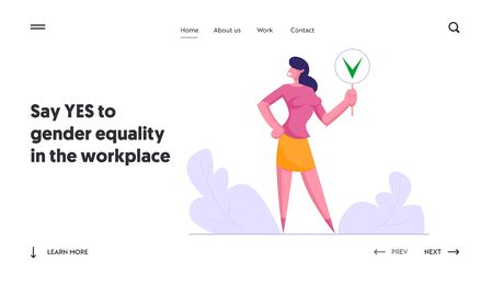 Politics Decision, Public Relations Website Landing Page, Businesswoman Hold Sign with Green Check Mark, Yes Symbol, Social Opinion, Voting, Election Web Page. Cartoon Flat Vector Illustration, Banner