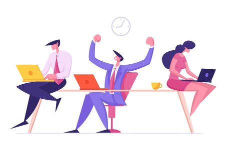 Male and Female Employees Characters Sitting in Office Workplace, Cheerful Business Man Demonstrate Muscles Rejoice of New Working Project Creative Idea Teamwork Group Cartoon Flat Vector Illustration
