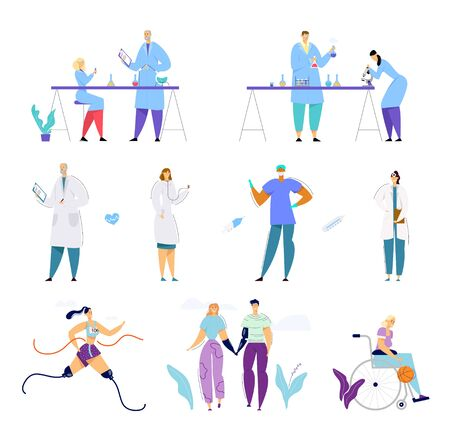 Medical and Chemistry Science Staff, Handicapped People Set. Medicine Concept with Disabled Characters Activity and Relations, Doctors and Scientists Working Process Cartoon Flat Vector Illustration