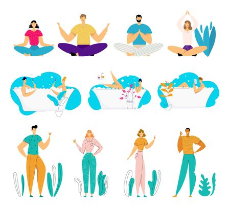Set of Young Male and Female Characters Doing Yoga Asana Meditating on Nature, Relaxing and Dating in Bath Tube Full of Soap Foam, Gesturing on Outdoors Background. Cartoon Flat Vector Illustration Illustration
