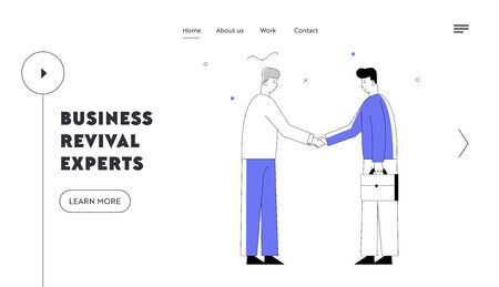 Partnership Concept Website Landing Page. Business Partners Men Handshaking, Businesspeople Meeting for Project Discussion, Agreement and Negotiation Web Page Banner. Cartoon Flat Vector Illustration