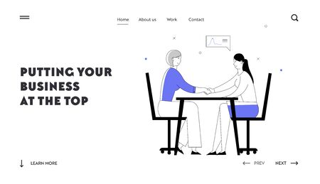 Shaking Hands Agreement Negotiation Website Landing Page. Business Partners Women Characters Handshaking Partnership Concept of Businesspeople Meeting Web Page Banner. Cartoon Flat Vector Illustration