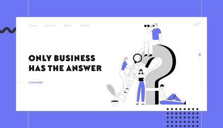 Frequently Asked Questions Website Landing Page. Business People around Huge Question Mark Searching Information with Magnifying Glass and Gadgets Web Page Banner. Cartoon Flat Vector Illustration