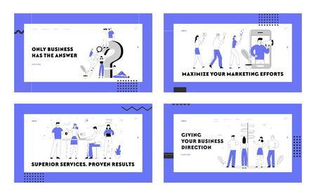 Social Media Marketing, Teamwork Creative Group, Information Searching Website Landing Page Set. People at Question Mark Smm Mobile Service Road Choice Web Page Banner Cartoon Flat Vector Illustration