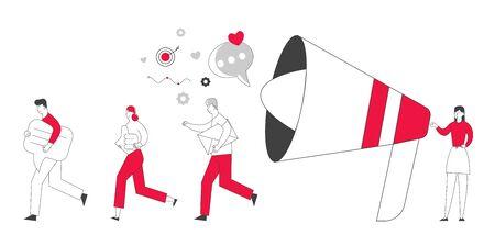 Public Relations and Affairs, Communication Pr Agency Marketing Team Work with Huge Megaphone. Alert Advertising, Propaganda Speech Bubbles, Social Media Promotion. Cartoon Flat Vector Illustration