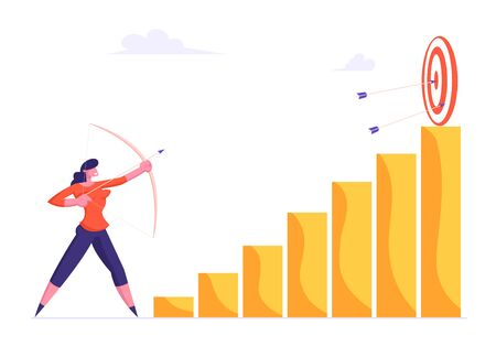 Businesswoman Aiming Arrow to Target Board Stand on Top of Column Chart Graph. Opportunity and Challenge, Task Solution, Business Strategy Concept. Goals Achievements Cartoon Flat Vector Illustration Stockfoto - 129762753