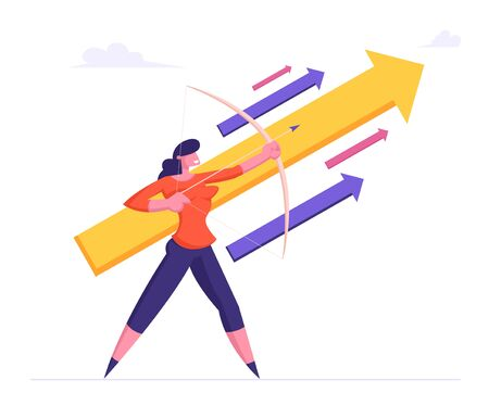 Businesswoman Holding Bow Direct Arrow Up to Sky. Aim in Business Strategy, Aspirational People Mission Achieved. Challenge Task Solution Opportunity Goals Achievement Cartoon Flat Vector Illustration 일러스트