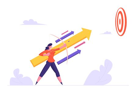 Businesswoman Holding Bow Aiming Arrow to Target Up in Sky, Business Goals Achievement Aim Mission, Opportunity and Challenge, Task Solution Business Strategy Concept. Cartoon Flat Vector Illustration