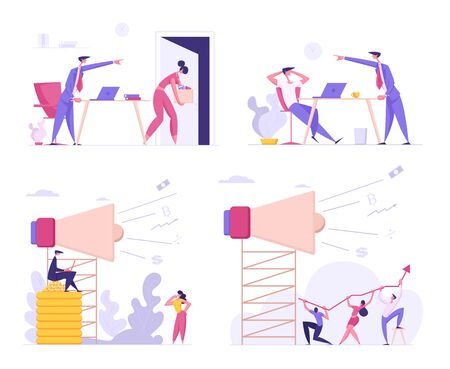 Social Media Marketing and Angry Boss Firing Office Employee Set. Business Advertising Promotion Campaign with Big Loudspeaker Talking to Crowd. Teamwork Communication Cartoon Flat Vector Illustration