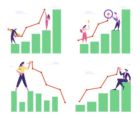 Set of Business Men and Women Stand on Column Chart Drawing Curve Line. Businesspeople Working on Growth Data Analysis Arrow Graph, Financial Profit Statistic Diagram. Cartoon Flat Vector Illustration