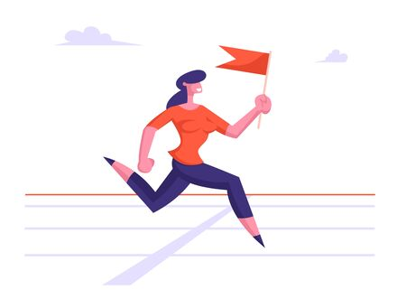 Business Woman Character Running on Stadium Holding Red Flag in Hand. Successful Businesswoman Leader Crossing Finishing Line Marathon Leadership Creative Idea Concept Cartoon Flat Vector Illustration