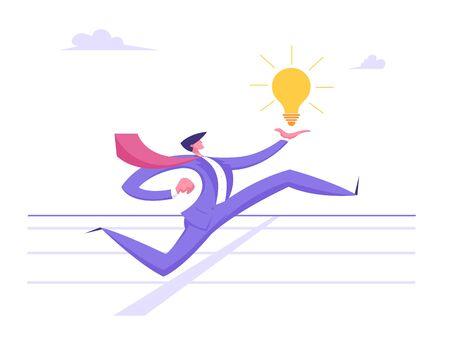 Business Man Character Running on Stadium Holding Glowing Light Bulb in Hand. Businessman Crossing Finish Track Line. Leadership, Creative Idea, Successful Leader Cartoon Flat Vector Illustration