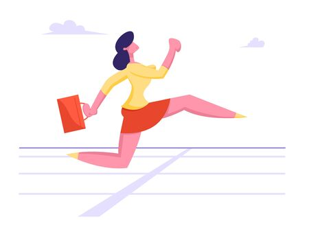 Business Woman Character Running on Stadium Track Holding Briefcase in Hand. Successful Businesswoman Leader Crossing Finishing Line. Challenge and Leadership Concept Cartoon Flat Vector Illustration