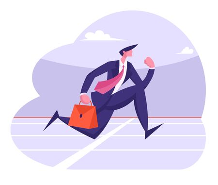 Successful Leader Business Man Character Running Sprint Race on Stadium Holding Briefcase in Hand. Businessman Crossing Finish Line. Leadership Competition Challenge Cartoon Flat Vector Illustration