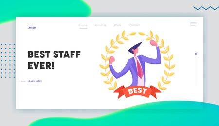 Best Worker Employee Website Landing Page. Successful Business Man Demonstrate Muscles Inside of Golden Award Gold Wreath with Ribbon Winning Trophy Web Page Banner. Cartoon Flat Vector Illustration