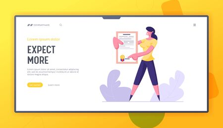 Protection of Health and Property Interests Website Landing Page. Young Business Woman Holding Insurance Policy Certificate with Stamp. Insured Events Web Page Banner. Cartoon Flat Vector Illustration