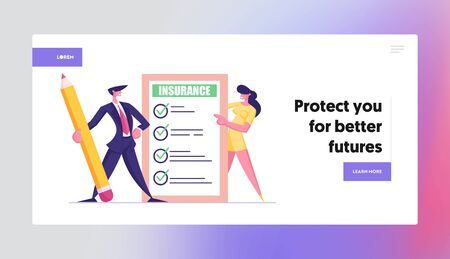 Protection of Health, Life, Real Estate and Property Interests Website Landing Page. Business Man and Woman Hold Insurance Certificate with Checklist. Web Page Banner. Cartoon Flat Vector Illustration