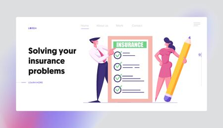 Protection of Health, Life, Real Estate and Property Interests Website Landing Page. Business Man and Woman with Pencil Holding Insurance Certificate Web Page Banner. Cartoon Flat Vector Illustration Illustration