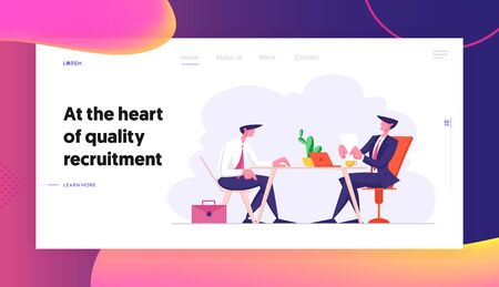 Job Interview Website Landing Page. Selection Committee Manager Asking Questions to Applicant Candidate About Work History Skill Expertise Experience Web Page Banner. Cartoon Flat Vector Illustration Illusztráció