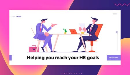 Interview and Work Employment Website Landing Page. Hr Department Employee Read Candidate Resume for Negotiation with Future Worker, First Impression Web Page Banner. Cartoon Flat Vector Illustration