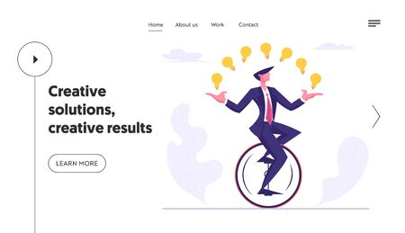 Businessman Character Racing in Leadership Competition Website Landing Page. Business Man Riding Monowheel Juggling Glowing Light Bulbs. Creative Idea Web Page Banner. Cartoon Flat Vector Illustration
