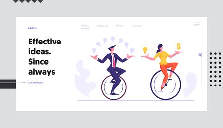 Businesspeople Racing in Leadership Competition Website Landing Page. Business Man and Woman Riding Monowheel Juggling with Glowing Idea Light Bulbs Web Page Banner. Cartoon Flat Vector Illustration