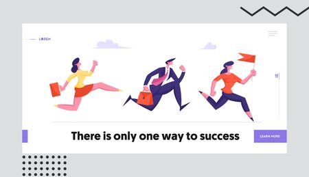 Leadership, Competition Concept Website Landing Page. Business People Characters Running by Row Following Businesswoman Holding Red Flag in Hands Web Page Banner. Cartoon Flat Vector Illustration