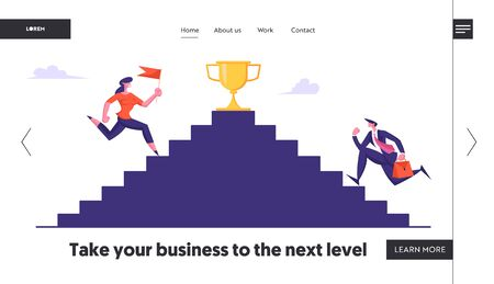 Business Competition, Goal Achievement Website Landing Page. Business People Climbing Stairs with Gold Goblet on Top. Businessman and Woman Leadership Web Page Banner. Cartoon Flat Vector Illustration Vettoriali
