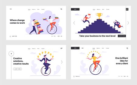 Overloaded Workers with Documents, Business Competition, Goal Achievement Website Landing Page Set. Office Employees Riding Monowheel, Climbing Stairs Web Page Banner. Cartoon Flat Vector Illustration