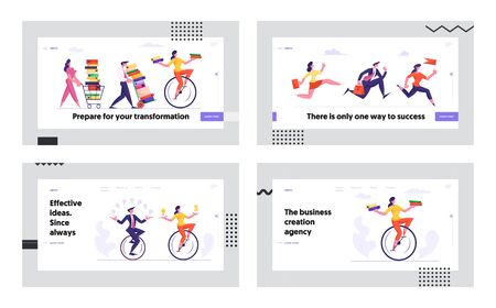 Business Competition Racing People Website Landing Page Set. Office Workers Men and Women Riding Monowheel Bicycle, Leadership Goal Achievement Concept Web Page Banner Cartoon Flat Vector Illustration
