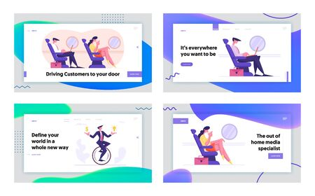 Business Trip and Race Website Landing Page Set. Businessman and Woman Sitting in Airplane, Passengers Traveling by Plane, Man Riding Monowheel Cycle Web Page Banner. Cartoon Flat Vector Illustration Иллюстрация