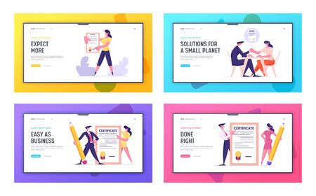 Insurance of Health and Property, Business Partners Handshake Website Landing Page Set. Agents with Protective Certificate, Man Woman Shaking Hands Web Page Banner. Cartoon Flat Vector Illustration
