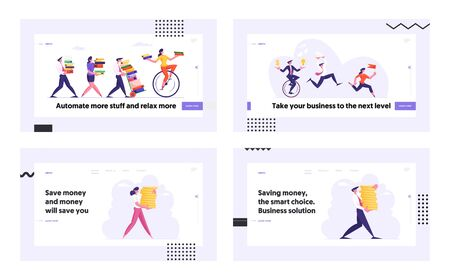 People Saving Money, Business Race Website Landing Page Set. Business Men and Women Running Competition, Office Worker Finance Professional Occupation Web Page Banner. Cartoon Flat Vector Illustration