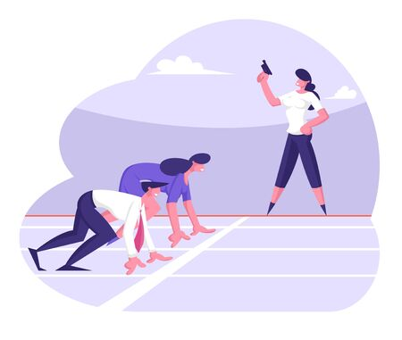 Business Competition Concept with Businessman and Woman Stand in Low Start Posture Prepare to Run Waiting Judge Gun Pistol Signal. Victory, Leadership Challenge. Cartoon Flat Vector Illustration