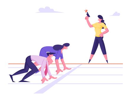 Focused Business People Group Managers and Entrepreneurs Man Woman Standing Ready for Run Sprint Competition on Race Track Start Line Waiting Starter Pistol Signal. Cartoon Flat Vector Illustration
