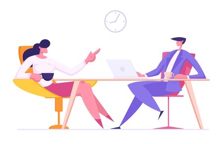 Relaxed Male and Female Characters Sitting in Office on Armchairs Drinking Coffee and Communicating. Business People Team Discussing Working Project Development. Cartoon Flat Vector Illustration