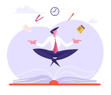 Businessman Relaxing and Meditating in Lotus Pose with Office Supplies Soaring over Huge Book. Worker Avoid Stress Practicing Mindfulness Business Yoga Meditation, Cartoon Flat Vector Illustration